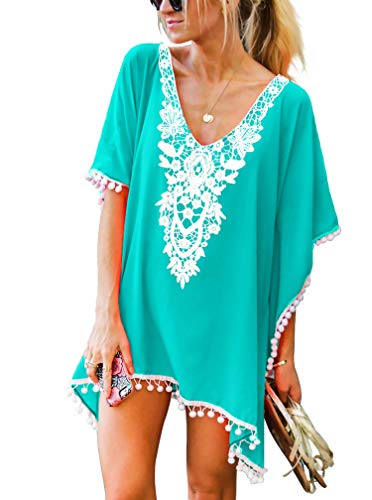 Women's Crochet Chiffon Pom Pom Kaftan Swimwear Bathing Suit Beach Cover Up Free Size Light Green