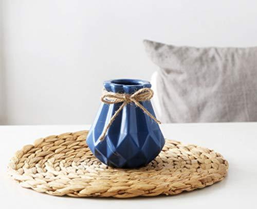 - zhengjun Ceramic Flower Vase Diamond Geometric Decor, Blue Modern Minimalist Flower Pot for Wedding Living Room Home Decoration (Blue, Small)