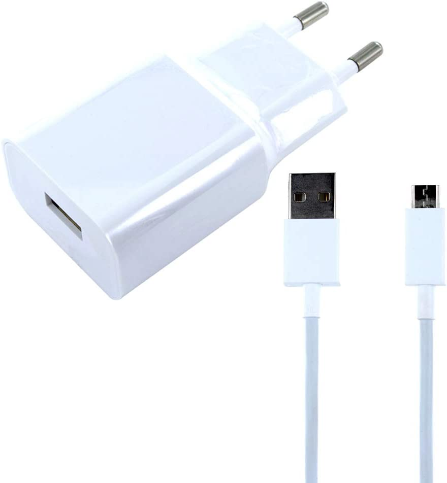 Movilux Cargador original MDY-08-EO con cable micro USB para Xiaomi Redmi Note 5, Mi3, 3s, Mi4, 4 X (V / 2 A) Blanco