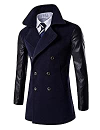 CFD Men's Vintage Leather Sleeves Trench Coat Jacket