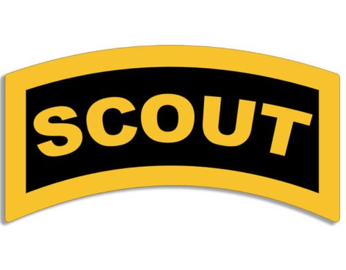 Cavalry Sticker - American Vinyl Yellow & Black Scout Tab Shaped Sticker (Army Military SSI Cavalry)