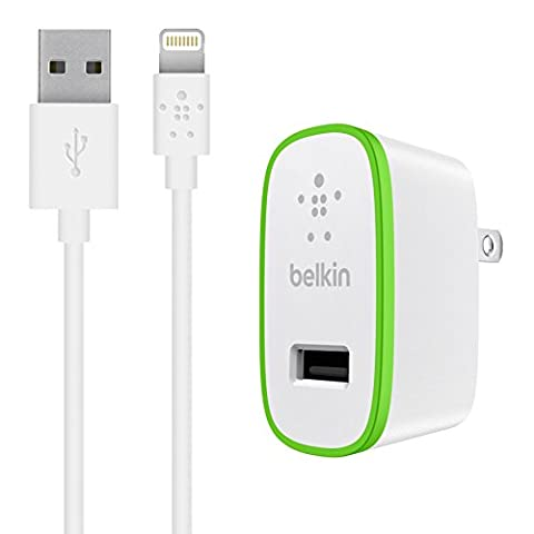 Belkin Boost Up Home Charger with 4-Foot Lightning to USB ChargeSync Cable, White (12 Watt / 2.4 (Iphone 5c Boost Mobile White)