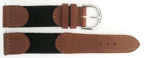18mm Black Brown Nylon Leather Swiss Army Style Replacement Band (Swiss Army Watch Band Loop)