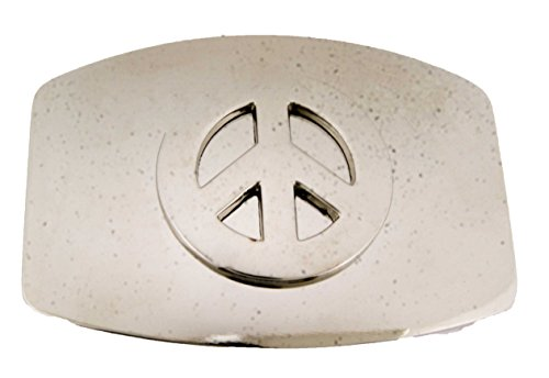 - Polished Chrome Cutout Peace Sign Belt Buckle Symbol