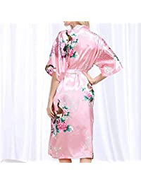 PLLP Comfortable Home Pajamas Shop Cotton with Pockets Bathrobe- Pajamas Polyester Summer Female Can Be Worn Outside Short Sleeve Long Section Nightgown Bathrobes Bathrobe Loose Printing Nightdr