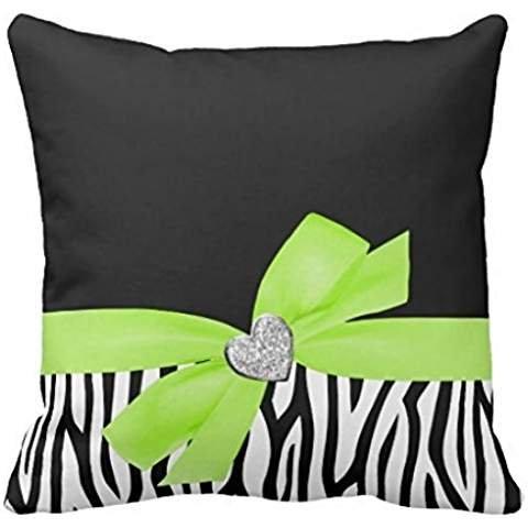 Lime Green Zebra - Zebra Lime Green Bow Diamond Heart pillow case 1616