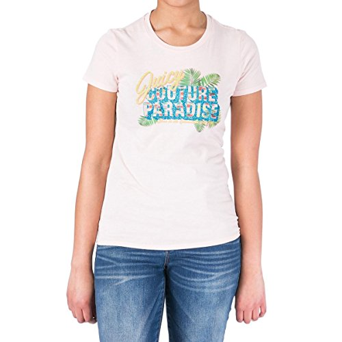 Juicy Couture Black Label Logo Paradise Pink Embellished Cotton T-Shirt XL