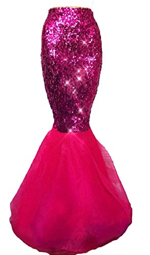 Rachel Charm Women's Mermaid Costume Lingerie Halloween Cosplay Fancy Sequins Long Tail Dress with Asymmetric Mesh Panel (S, Rose red)