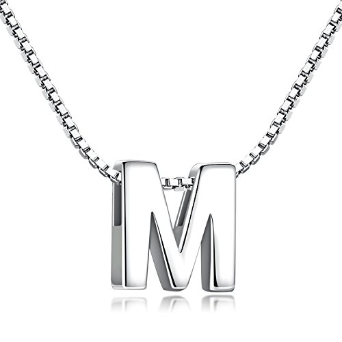 (Candyfancy M Initial Necklace 925 Sterling Silver Alphabet Personalized A-Z Letter Pendant Necklace for Women Girls Gift with 18