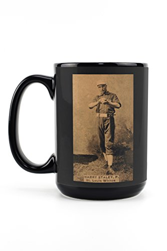 - St. Louis Whites - Harry Staley - Baseball Card (15oz Black Ceramic Mug - Dishwasher and Microwave Safe)