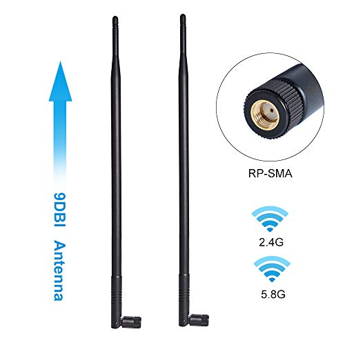 9dBi 2.4GHz 5.8GHz Dual Band WiFi Antenna 2-Pack, Omni-Directional Wireless Antenna with RP-SMA Connector for Wireless Network Router, PCI/PCIe Card, USB Adapter, IP - Antenna Wireless Directional Router