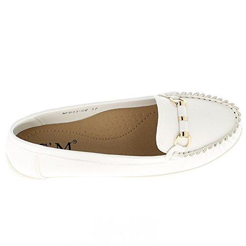 con confort barette blanco Mujeres mocasines qtB7AA