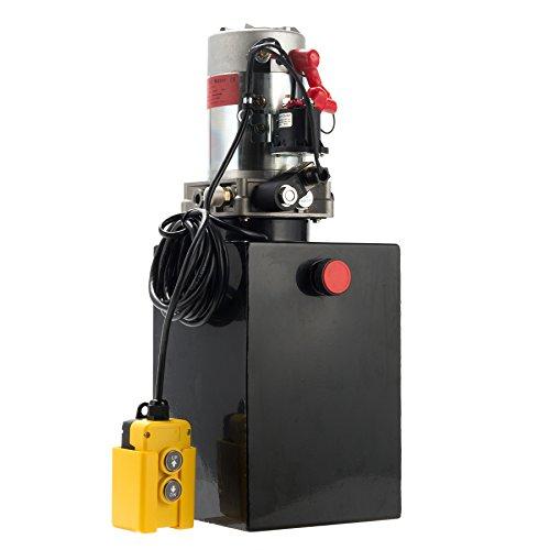 CO-Z Hydraulic Pump for Car Lift, Double Acting Hydraulic Power Unit for Dump Truck Dump Trailer with Steel Reservoir, Single Hydraulic Cylinder of 12V Power Supply & 12 Quart