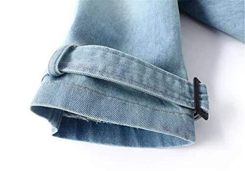 Breasted Baggy Double Manica Jeans Lunga Moda Stlie Giubbotto Eleganti Autunno Cappotto Primaverile Denim Libero Outerwear Vintage Donna Tempo Hellblau Jacket Bavero Grazioso Di ISwPnSq7