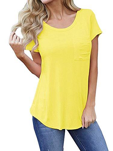 Pneacimi Tie Front Short Sleeve Casual Loose Shirt Tops for Women (Yellow Shirt, M)