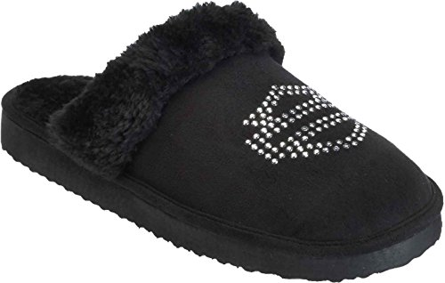 Harley-Davidson Women's Elesia Slip On Slipper, Black, 7 M US (Womens Davidson Slippers Harley)
