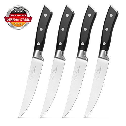 Steak Knives, Steak Knife Set of 4 Premium Kitchen Table Knife 5 Inch Straight Edge Blade Dinner Knives Non Serrated