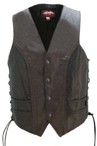 American Made - Motorcycle Leather Vest Two Tone by HILLSIDE USA LEATHER INC.