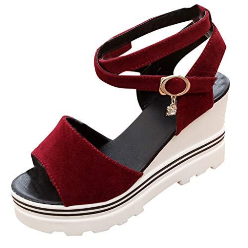 Womens Lace up Platform Wedges Sandals Classic Ankle Strap Shoes Espadrilles Slide-on Peep Toe High Heel Dress Sandals Red