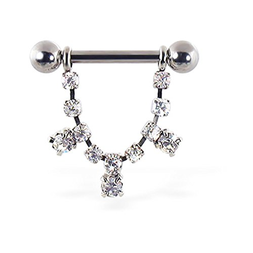 MsPiercing Nipple Ring With Dangling Jeweled Chain And Gems, 12 Ga Or 14 Ga, Gauge: 14 (1.6Mm)