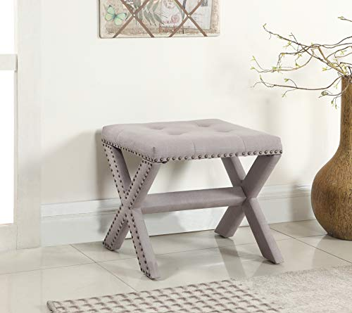 Best Master Furniture 621 Sasha Linen Blend Small Accent Bench with Nailhead Trim, - Master Stool Professional Office