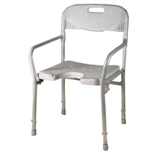 Duschstuhl, faltbar mit Rücken-und Armlehne, höhenverstellbar, mit Intimausschnitt