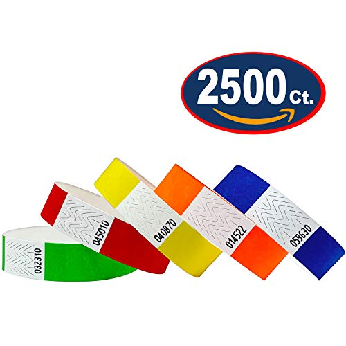 """2500 Tyvek Wristbands 3/4"""" - Variety Pack - Red, Orange, Yellow, Green, Blue - Paper Wristbands for Events"""