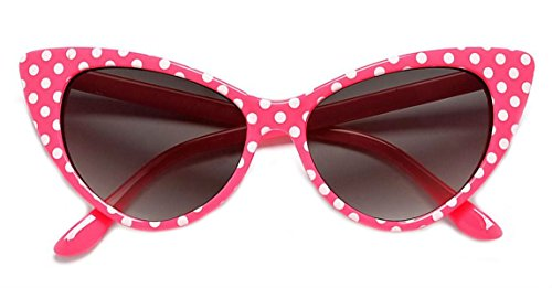 WebDeals - Cateye or High Pointed Eyeglasses or Sunglasses Vintage Inspired Fashion (Pink Polka Dot) ()