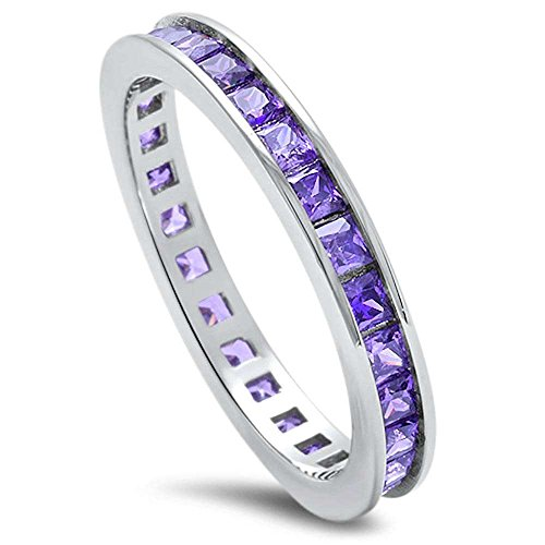 - Princess Cut Simulated Amethyst .925 Sterling Silver Eternity Band Size 8