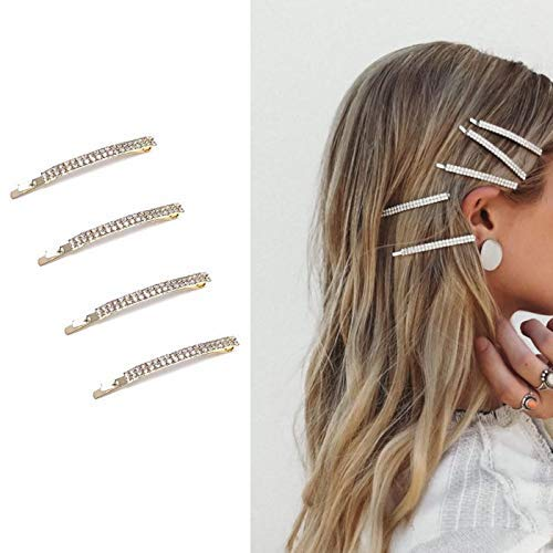 Deluxe 4 Pack Gold Decorative Double Row Clear Crystal Rhinestone Hair Barrettes Bobby Pins Clips]()