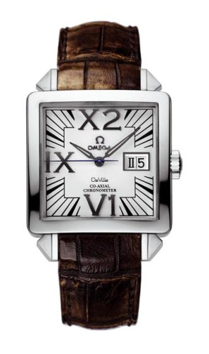 Omega-DeVille-X2-Big-Date-Mens-Brown-Strap-White-Dial-Stainless-Steel-Automatic-Watch-77113039