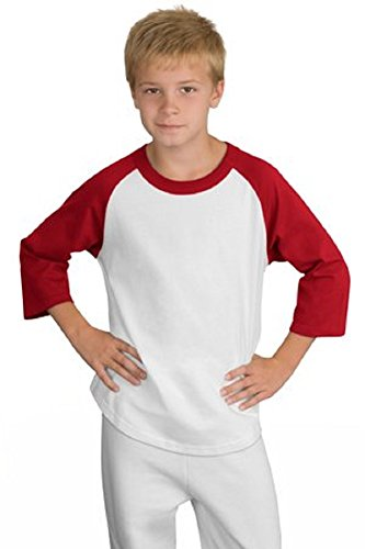 Sport-Tek YT200 Youth Colorblock Raglan Jersey - White/Red - (Sport Tek Youth Color)