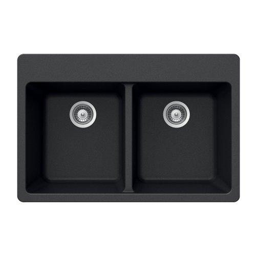 Houzer MADISON N-200 Onyx Madison Series Topmount Granite Double Bowl Kitchen Sink, Onyx