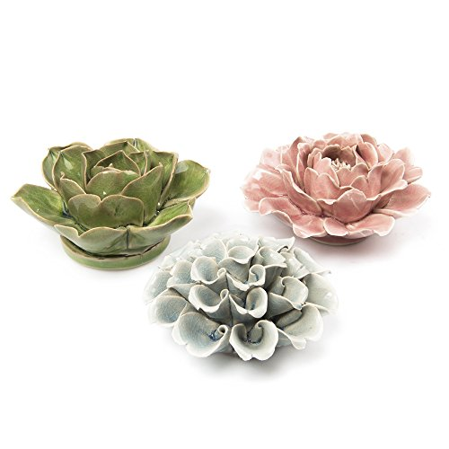 Chive - Set of 3 Ceramic Decorative Flowers, Key Holed in The Back so They can go on a Wall, Table Top and Wall Hanging, Unique Wall Art Installation,