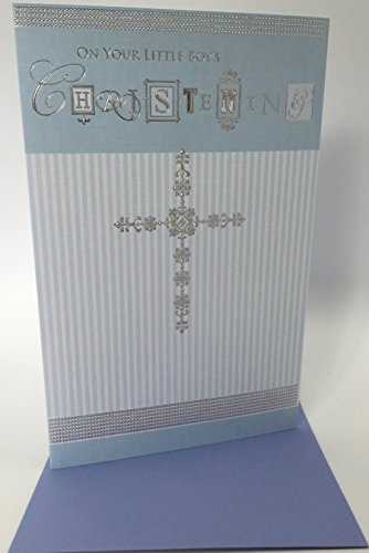 ON YOUR LITTLE BOY'S CHRISTENING GREETING CARD - Luxuriously Foiled, Baby, Blue