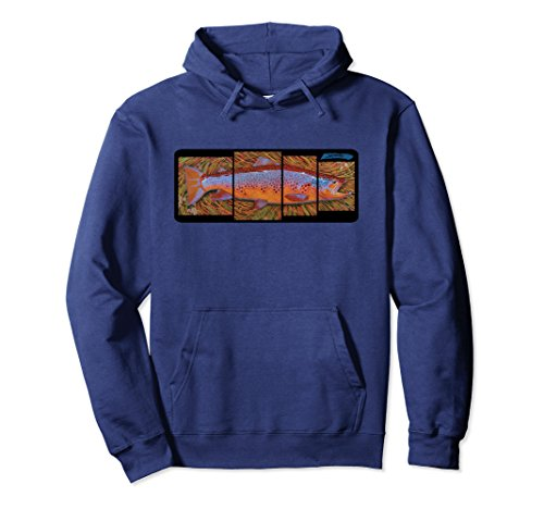 Unisex Brown Trout Fish Species Hoodie Derek DeYoung Fisherman Art 2XL Navy (Fish Adult Sweatshirt)