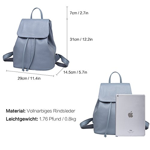 Ladies Leather Bag Light Blue Elegant Boyatu Backpack Shoulder School Women Travel Genuine For Yn56Cpg