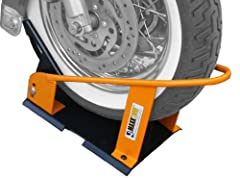 This Maxxtow wheel chock automatically locks the front wheel into place when rolled into chock. Safely secures motorcycle wheel for transport or storage. Mounts securely to truck bed, trailer or floor. Enables one person to easily load and st...