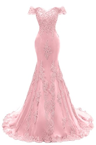 (Himoda Women's V Neckline Beaded Evening Gowns Mermaid Lace Prom Dresses Long H074 10 Pink)