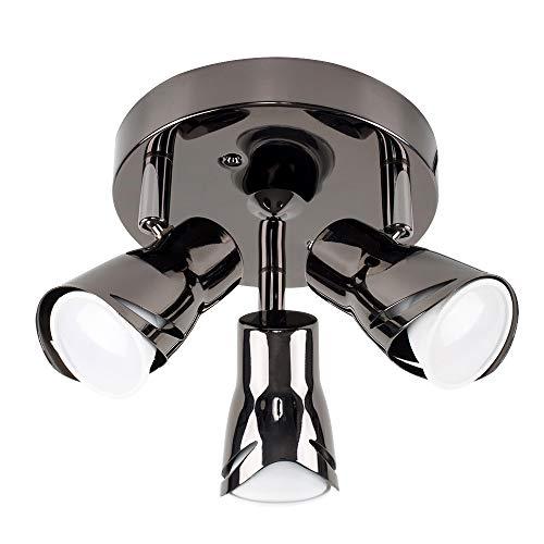 MiniSun – Strakke ronde plafondspot met 3 verstelbare spotjes, zwart chroom – Plafondlamp 3 spots – GU10 plafond spot, 3…