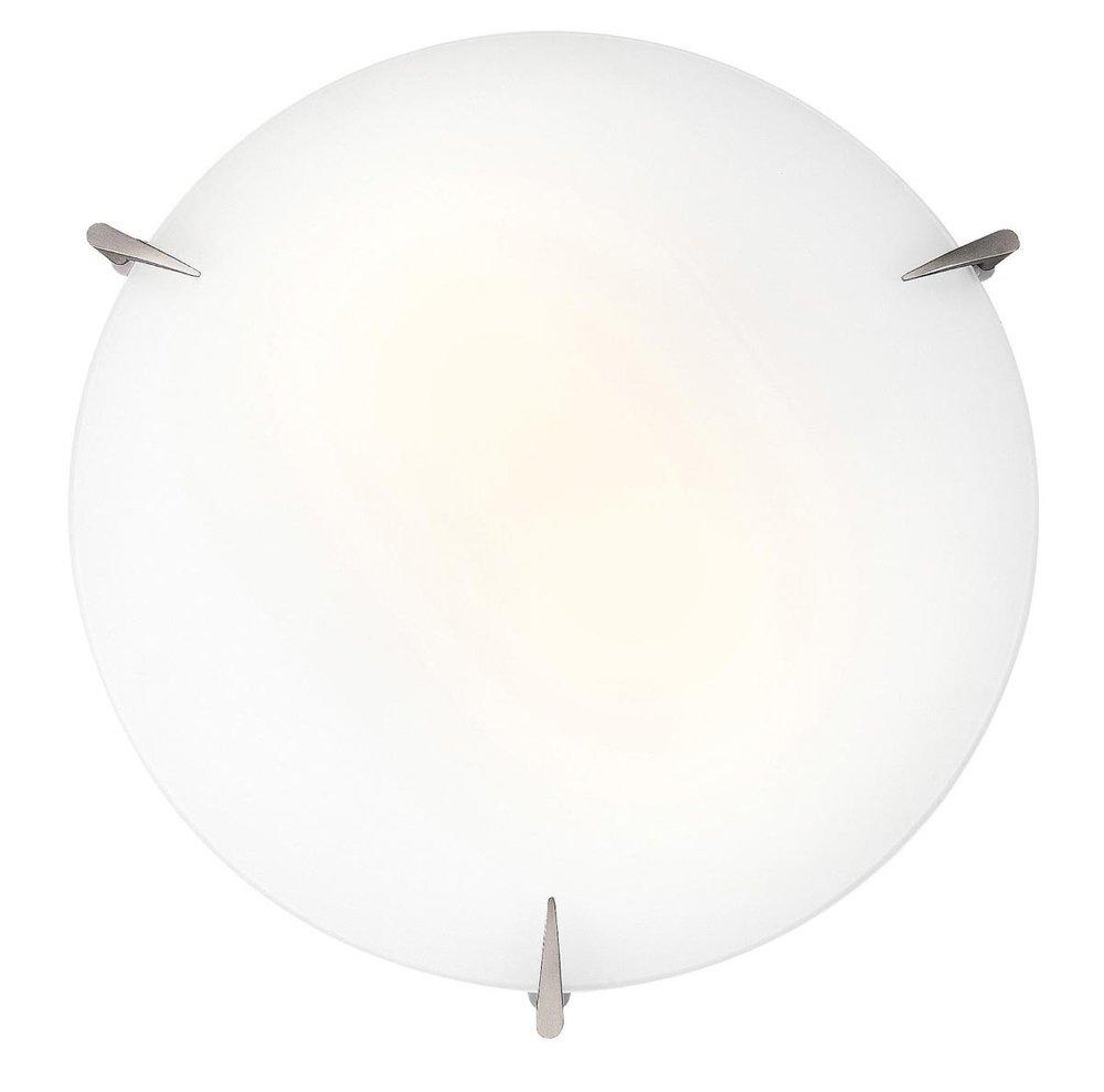 Zenon - 12''dia Flush Mount - Brushed Steel Finish - Opal Glass Shade