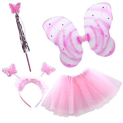 Valley Boutique 4pcs girl's butterfly costume LED light butterfly fairy wing princess Tutu dress magic wand headband