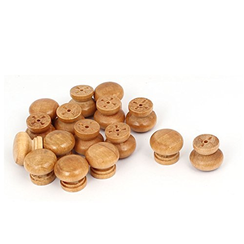 0.94' Handle - DealMux Wardrobe Drawer 24mm x 20mm Wooden Round Pull Knob Handle Grip Grasp Khaki 16pcs