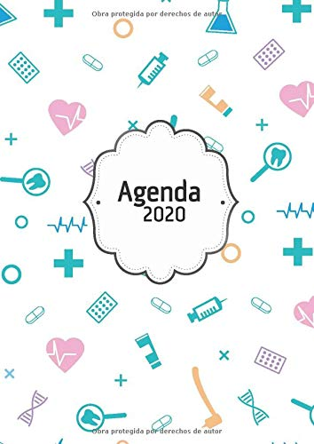 Agenda 2020: Tema Enfermera Medicina Agenda Mensual y Semanal + Organizador Diario I Planificador Semana Vista A4 por Casa Poblana Journals