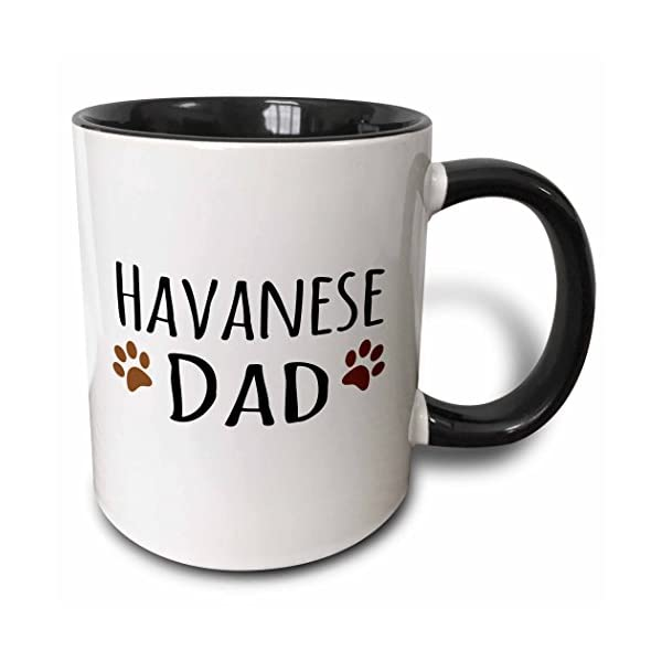 3dRose 153923_4 Havanese Dog Dad Mug, 11 oz, Black 1