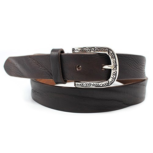 Brunocenere Mens 1-1//4-in Off Shore Wavy-Leather Belt Black 34 Medium