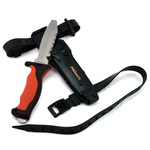 "Promate Scuba Dive Snorkel Titanium Knife (4 3/8"" Blade) with straps and sheath"
