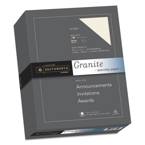 Granite Specialty Paper, Ivory, 24 lbs., 8-1/2 x 11, 25% Cotton, 500/Box, Sold as 1 Ream by Southworth
