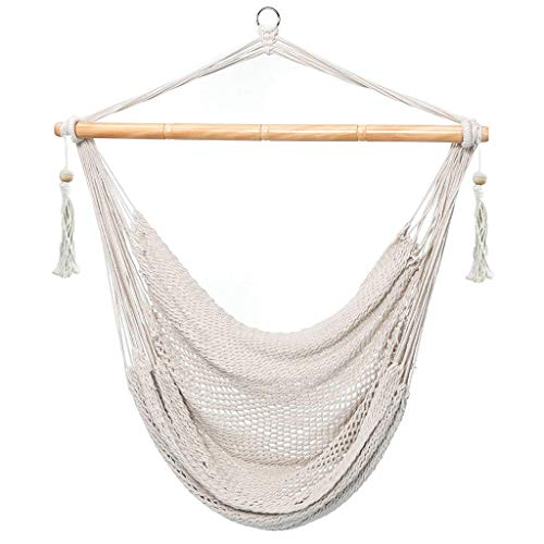 E EVERKING Hanging Rope Mesh Hammock Chair Swing, Cotton Rope Mayan Hammock Chair, Netted Hanging Chair Swing Seat for Outdoor Indoor Yard Bedroom Patio Porch, 300lbs Weight Capacity