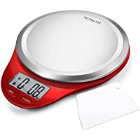 Nutri Fit Digital Kitchen Scale with Dough Scraper (Red)